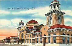 Birmingham Alabama AL 1945 Railroad Terminal Station Antique Vintage Postcard