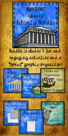 $ This bundle contains six activities to supplement your lesson on Ancient Greece. Click on the links below to learn more about each included activity: Ancient Greece City-State Postcard Activity The Golden Age of Greece: A Scavenger Hunt My Greek Name: A Look at the Greek Alphabet Ancient Greece Review Game Ancient Greece Television Show Activity Persian and Peloponnesian Wars Chart 6th Grade Social Studies, Teaching Social Studies, Ancient Greece Display, Greece History, Ancient World History, Greek Alphabet, Greek Art, City State, Ancient Civilizations