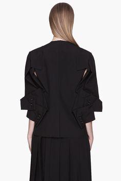 COMME DES GARÇONS Black deconstructed Wool Tropical Jacket