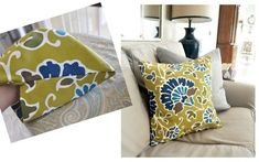 DIY no sew pillow covers- made out of cloth napkins. doing this for a nice change from our other pillows
