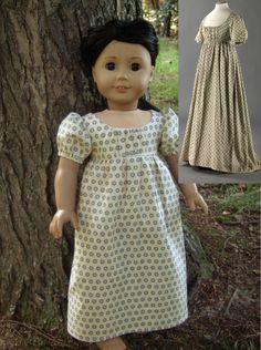Cream Polka-dot 1800 Regency Dress Replica for American Girl Dolls - by Morgan May @ Stardust Dolls - http://www.stardustdolls.com