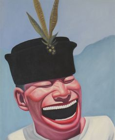 Yue Minjun's 'Laughing Man' is probably most internationally recognizable character in Chinese contemporary art. In his 'Hat Series' artist pictures his grinning man with variety of headgear Chinese China, Chinese Art, Chinese Contemporary Art, Contemporary Paintings, Yue Minjun, Art Chinois, Funny Art, Chinese Painting, Vintage Fashion