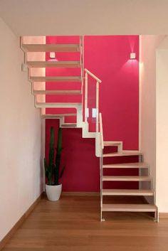 escalera en U con zancas laterales (estructura metálica y peldaños de madera) IBISCO GLASS New Living srl