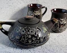 Pottery tea set ceramic Housewarming gift for mom wedding gift ideas for women birthday gifts Decorative owls teapot and two mug stoneware