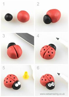 How to make an easy fondant ladybird - fun icing bug toppers for decorating cake. - How to make an easy fondant ladybird - fun icing bug toppers for decorating cake. How to make an easy fondant ladybird - fun icing bug toppers for d. Fondant Animals, Clay Animals, Fondant Toppers, Kids Clay, Clay Art For Kids, Fondant Tutorial, Cake Topper Tutorial, Fondant Flowers, Icing Flowers