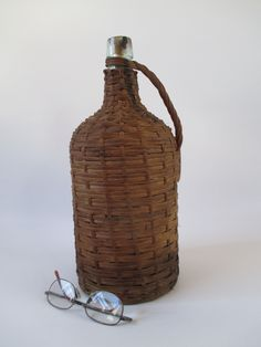 Demijohn, Vintage Wicker Covered Glass Bottle, Fermentation Carboy Brewing, Maritime Pirate, Corked, Rustic Farm Mountain Cabin Decor Brown by HobbitHouse on Etsy
