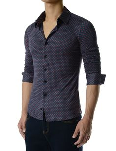 fb936b95e940 (CEL59) Mens Slim Fit Dot Pattern Regular Collar Stretchy Long Sleeve Shirts