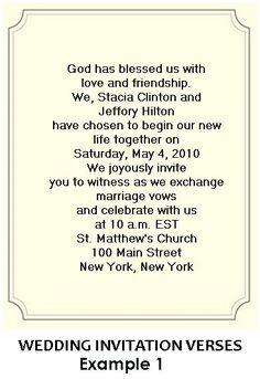religious wedding invitation wording samples Christian Wedding