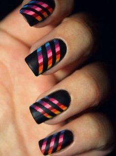 Perfect Rainbow Strips Nail Art Design