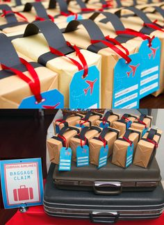 Airplane party luggage favors