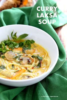 Vegan Laksa - Malaysian Curry Laksa Soup Recipe with homemade Laksa paste. Warming, spicy, flavorful soup for fall & winter. Laksa Recipe Vegan Gluten-free Soy-free