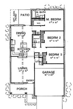 small all in one floor--Home Plans HOMEPW06633 - 1,220 Square Feet, 3 Bedroom 2 Bathroom Bungalow Home with 2 Garage Bays