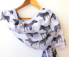 Zebra Summer Scarves White Bohemian Scarf Soft by warmandsoft