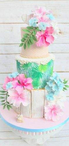 Tropical beach theme cake - by Lynette Brandl Hawaiian Theme Cakes, Beach Themed Cakes, Beach Cakes, Luau Birthday Cakes, Luau Cakes, Party Cakes, Birthday Cupcakes, Image Pinterest, Cake Inspiration