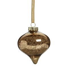 Wilko Natures Noel Onion Bauble Glass Gold Effect