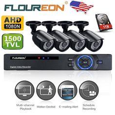 Amazon.com : Floureon 8CH P2P Motion Detection Push Alerts AHD 1080N DVR + 4 X 720P 1.0MP 1500TVL Outdoor Indoor Waterproof Bullet Camera + 1T Hard Disk Security Kit Home Surveillance Security Kit : Camera & Photo