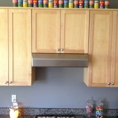Inexpensive and fun decoration. Campbell's tomato soup Andy Warhol cans.