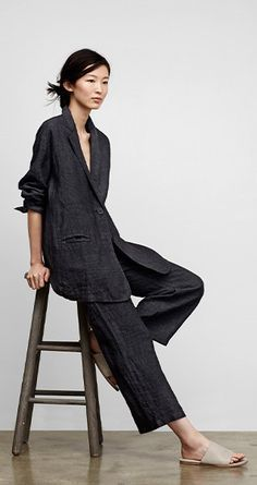 Fisher Fashion, Eileen Fisher Style, Linen Suit, Slouchy Linen, Linen Outfits For Women, Minimalist Style