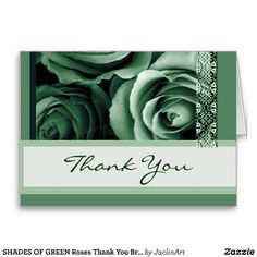 #GREEN #Roses #ThankYou #BridalShower #Greeting #Cards http://www.zazzle.com/shades_of_green_roses_thank_you_bridal_shower_card-137327992118987380