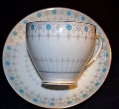 Vintage Tea Cup and Saucer Gold Trimmed ABJ Grafton Savoy China Made in England #ABJCrafton