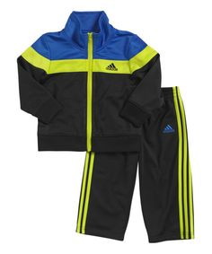 Look at this adidas Blue & Yellow Elite Jacket & Track Pants - Infant on #zulily today!