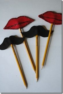 Lips and moustach pencil toppers....easy and fun!