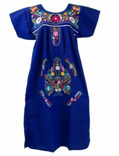 Any Color Embroidered Mexican Dress Vintage Tunic Peasant s M L XL XXL Plus Size | eBay
