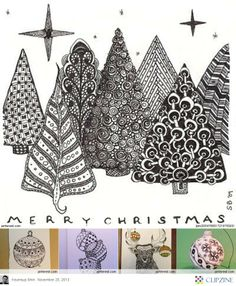 LeeAnn's Zentangle-ing Fun More Christmas inspiration here. Like her use of Fife, an official Zentangle Pattern Zentangle Drawings, Doodles Zentangles, Zentangle Patterns, Tangle Doodle, Zen Doodle, Doodle Art, Christmas Doodles, Christmas Art, Handmade Christmas