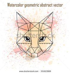 Abstract head of cat geometric shapes with watercolor splatter Geometric Shapes Drawing, Geometric Cat, Geometric Patterns, Watercolor Splatter, Watercolor Cat, Watercolor Animals, Cartoon Drawings, Animal Drawings, Cat Drawing Tutorial