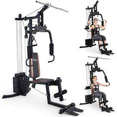 cool Physionics - Aparato multifuncional de fitness - polea alta, contractor de pecho, barra para dorsales (latissimus), barra curva, aparato de piernas, correa y asa de remo