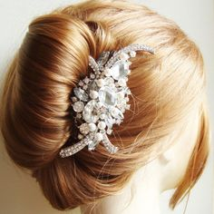 Bridal Hair Comb Art Deco Crystal Rhinestone by luxedeluxe,