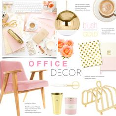 Blush and Gold Office Decor
