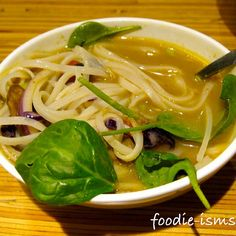 Yellow coconut curry broth w/spinach, cabbage, mushrooms, tomato, red onion, and rice noodles. (via Foodspotting)     ;) repin!