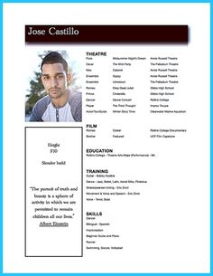 Acting Resume Example Actor Resume Template  8 X 10 Acting Resume  Instant Digital