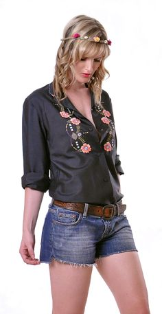 Folk Embroidered Silk Shirt | Damsel Vintage - 70s Vintage Fashion