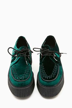 T.U.K. Mondo Velvet Creeper - Green #shoes #velvet