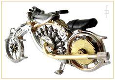 Steampunk miniature motorbike, motocycle made of watch elements. https://www.motorbikes.etsy.com