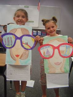"""Cute idea - would be cute when talking about careers - have them draw a picture of what they want to be when they grow up - caption, """"My future is so bright I have to wear sunglasses!"""""""