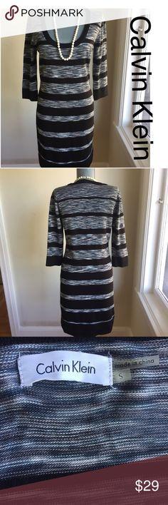 "Calvin Klein Dress for Fall Calvin Klein dress for Fall. Bust 35"". Waist 30"". Hips 36"". Waist to hem 20"". Stretchy Knit like fabric. 100% Acrylic. Stunning. Calvin Klein Dresses"