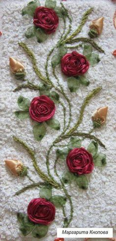 Wonderful Ribbon Embroidery Flowers by Hand Ideas. Enchanting Ribbon Embroidery Flowers by Hand Ideas. Embroidery Floss Crafts, Ribbon Embroidery Tutorial, Rose Embroidery, Silk Ribbon Embroidery, Embroidery Thread, Embroidery Patterns, Crazy Quilting, Band Kunst, Ribbon Art