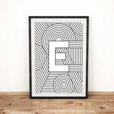 "Letter Print ""E"" | Initial Poster | Letter Print | Alphabet Print | Monogram Initial Print | Wall Art | Love Art Print | Quote Art Print"
