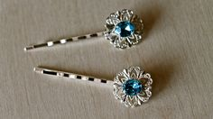 Something Blue Oval Hair clips (Two) By Twinkle Jewellery - Bridal hairclips, Wedding Jewellery, Diamante, Rhinestone, Bobby Pins by twinklejewellery on Etsy
