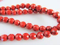 rode jaspis kraal facet A-kwaliteit 6 mm