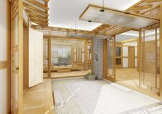 Modern Hanok, Korean traditional house, I think a similar interior would make a very interesting master bath. Asian Architecture, Interior Architecture, Interior Design Inspiration, Home Interior Design, Asian Home Decor, Traditional House Plans, Pantry Design, Japanese House, Japanese Style