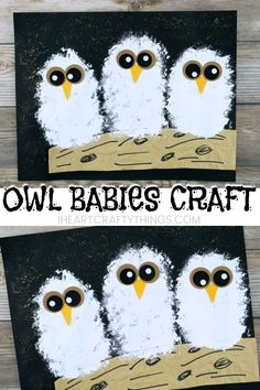 owl babies craft to go with the book Owl Babies by Martin Waddell. Cute owl craft for kids and fall art project for kids.Adorable owl babies craft to go with the book Owl Babies by Martin Waddell. Cute owl craft for kids and fall art project for kids. Fall Art Projects, Art Projects For Adults, Craft Projects, Craft Tutorials, Halloween Art Projects, Preschool Crafts, Kids Crafts, Arts And Crafts, Craft Kids