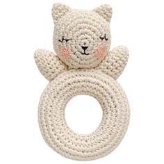 Image of Kitty crochet rattle - love the face