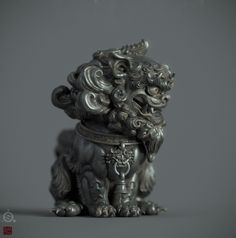 SuanNi is a mysterious Chinese legendary beast.Just for fun,testing a Jade material and sss render in Iray. Chinese Demon, Chinese Art, Asian Sculptures, Dunhuang, Stone Lion, Fu Dog, Lion Dog, Asian Design, Objet D'art