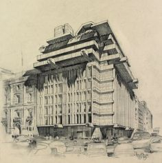 Greece, Athens, Bank Of Piraeus Architecture Drawings, Architecture Design, Athens Greece, Brutalist, Google Images, Big Ben, Perspective, Greek, Presentation