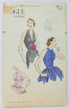 Vintage 1950's VOGUE Sewing Pattern 7454 Halter Blouse Bodice Size 16