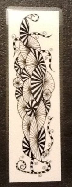 Zentangle art laminated bookmark 21/2 x 71/2 by TangleWithMeToo, $4.00